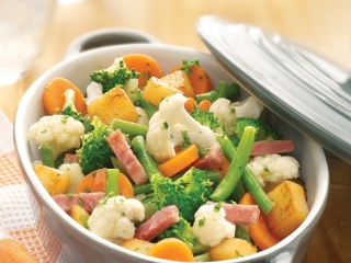 image of Vegetable potato dish with bacon