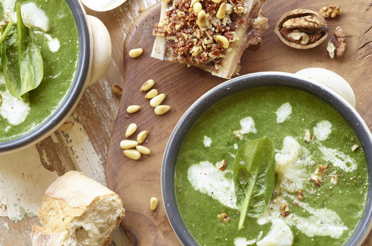 Image of Refined cauliflower winter soup with spinach